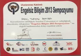 2013 Engelsiz Bilişim Sempozyumu Katılım Belgesi İstanbul