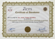 2013 ICITS Katılım Belgesi Erzurum