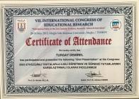 2015 Eğitim Araştırmaları Kongresi Katılım Belgesi Muğla