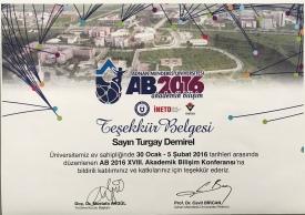 2016 Akademik Bilişim Katılım Belgesi Aydın