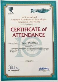 2016 ICITS Katılım Belgesi Rize