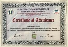 2017 Eğitim Araştırmaları Kongresi Katılım Belgesi Ordu